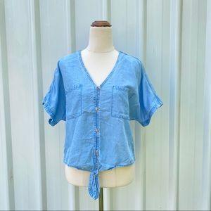 Jeanswest Tencel Blouse Size 10 V-neck Front Button Tie Knot Short Sleeve Picnic